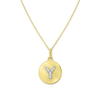 Diamond Uppercase Mini Disc Initial Y Necklace