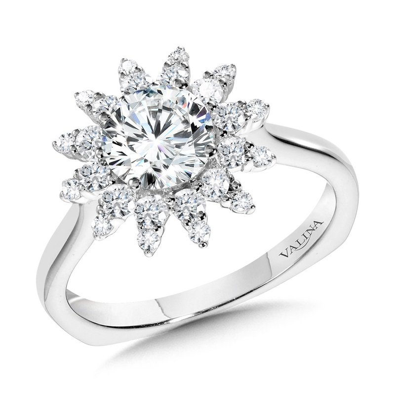Valina Floral Halo Diamond Engagement Ring