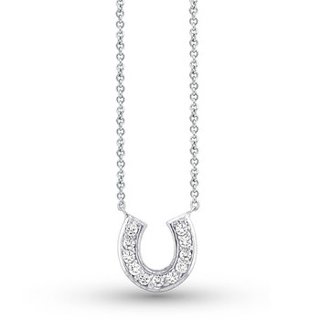 Diamond Small Horseshoe Necklace in 14k White Gold with 11 Diamonds weighing .14ct tw.