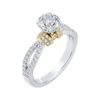 Carizza 14K Tow-Tone Gold Round Diamond Engagement Ring with Split Shank (Semi-Mount)