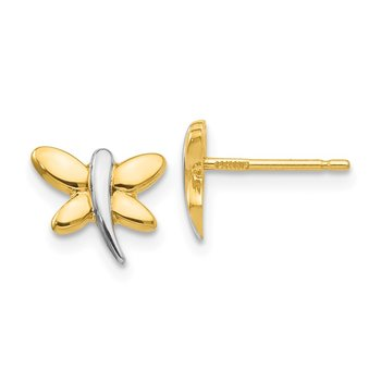 14k with Rhodium Polished Dragonfly Post Earrings