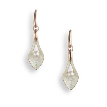 White Teardrop Wire Earrings.Rose Gold Plated Sterling Silver-Freshwater Pearls