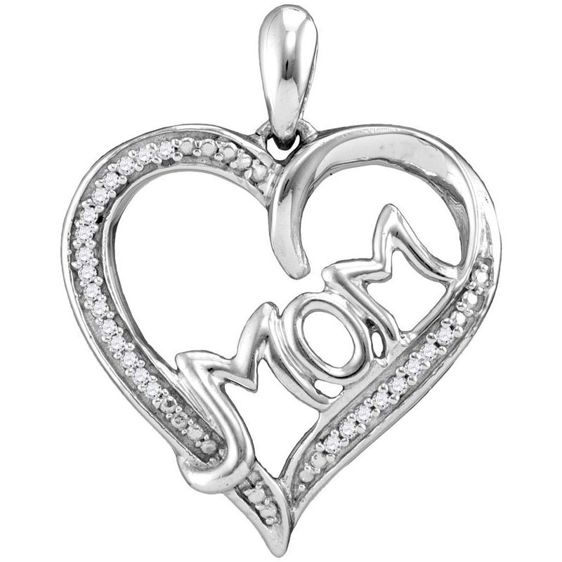 Gold-N-Diamonds Sterling Silver Womens Round Diamond Heart Mom Mother Pendant 1/12 Cttw