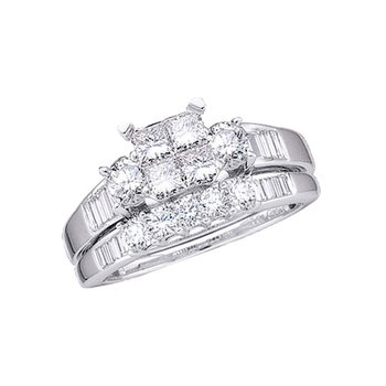 10kt White Gold Womens Princess Diamond Bridal Wedding Engagement Ring Band Set 1.00 Cttw Size 9
