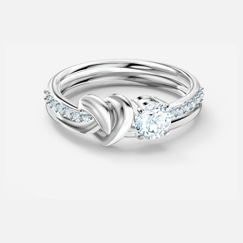 Swarovski Lifelong Heart Ring, White, Rhodium plated
