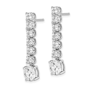 Sterling Silver Rhodium-plated White CZ Round Cut Dangle Post Earrings