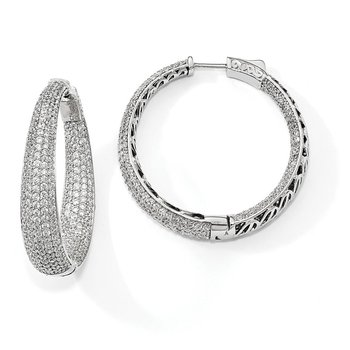 Sterling Silver Rhodium-plated Pave' CZ In & Out Round Hoop Earrings