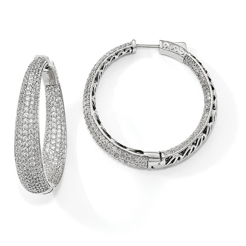 Quality Gold Sterling Silver Rhodium-plated Pave' CZ In & Out Round Hoop Earrings