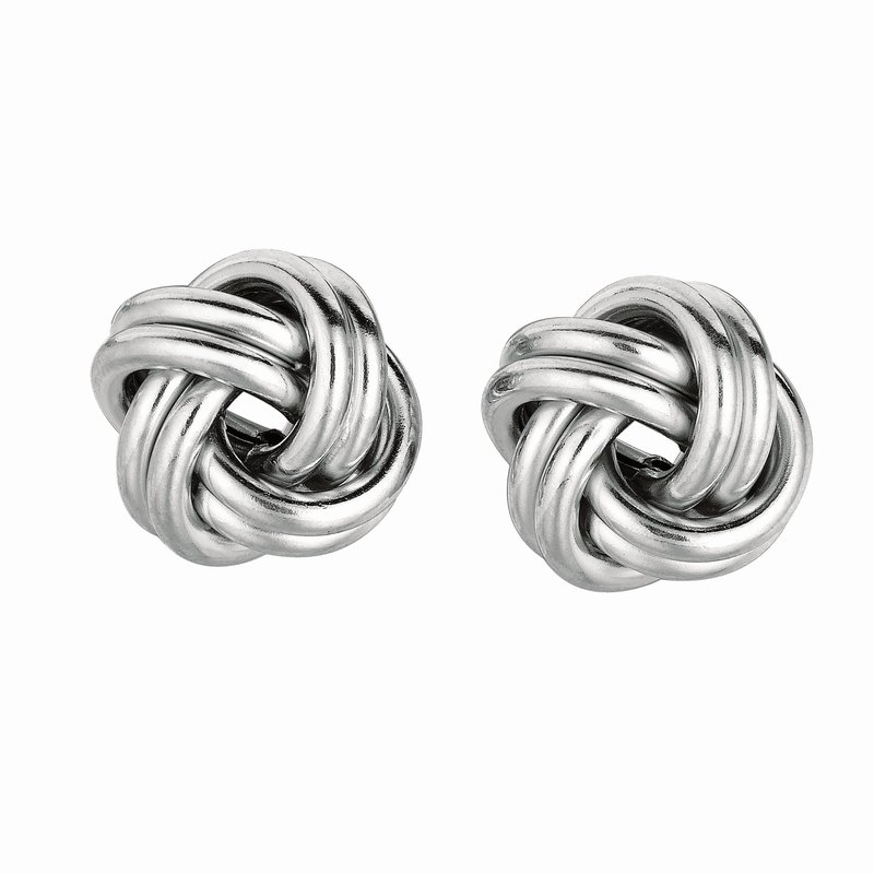 Royal Chain Silver Double Row Polished Love Knot Earring