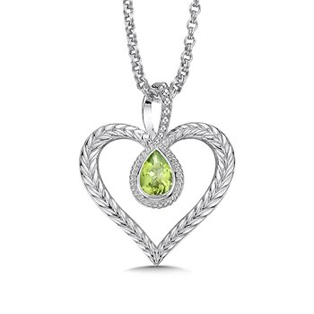 Sterling silver and peridot heart pendant