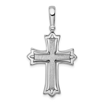 Sterling Silver Rhodium-plated Brushed/Polished Cross Pendant
