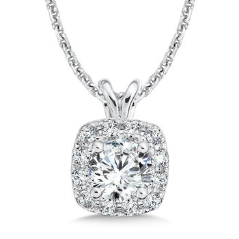 Diamond Cushion Halo Pendant with Split Bale in 14K White Gold (3/4ct. tw.)