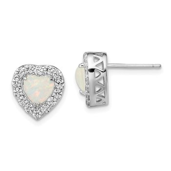 Sterling Silver Rhodium-plated CZ & Synthetic White Opal Post Earrings