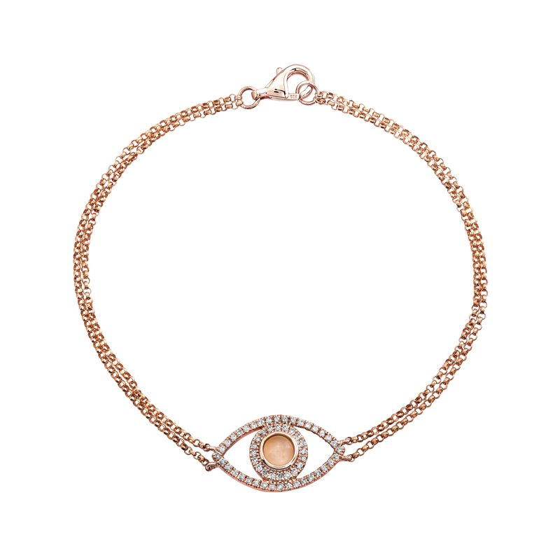 Rose Gold Piety Moon Stone Evil Eye Bracelet