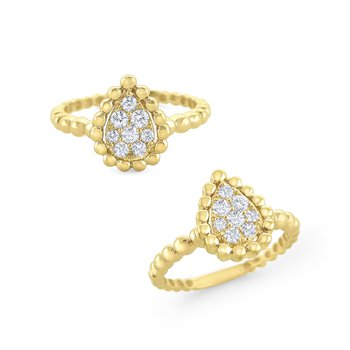 Pear Shape Large Milgrain Diamond Ring Set in 14 Kt. Gold