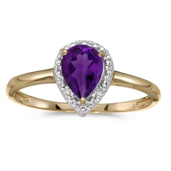 14k Yellow Gold Pear Amethyst And Diamond Ring