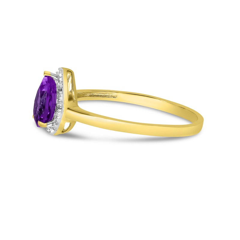 Color Merchants 14k Yellow Gold Pear Amethyst And Diamond Ring