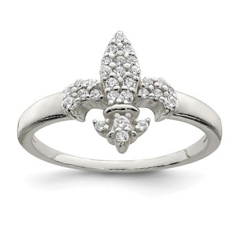 Sterling Silver Polished CZ Fleur De Lis Ring
