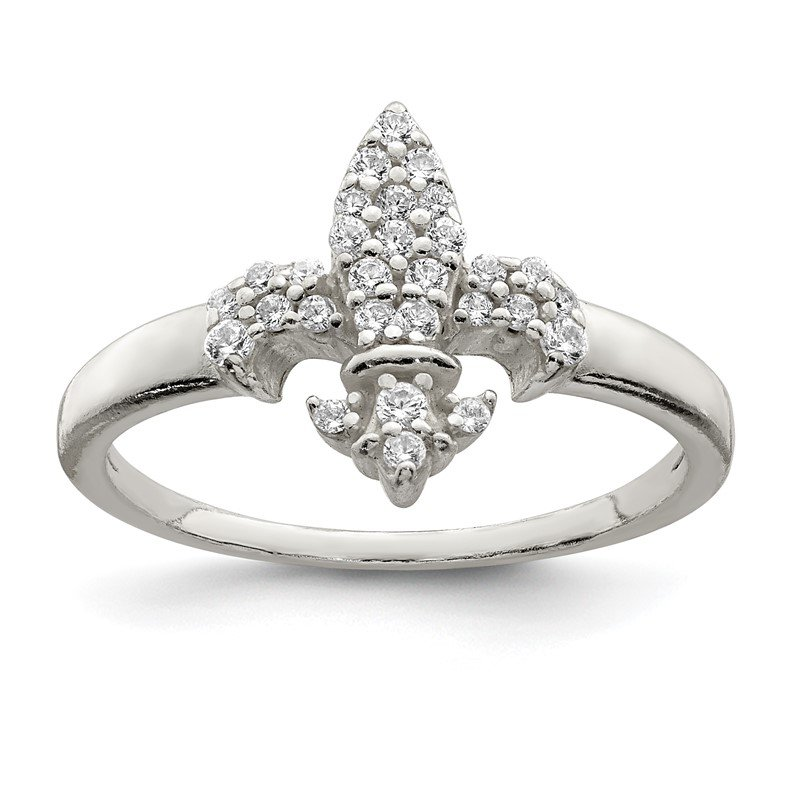 Quality Gold Sterling Silver Polished CZ Fleur De Lis Ring