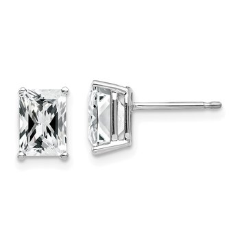 14k White Gold 7x5mm Radiant Cut Cubic Zirconia Earrings