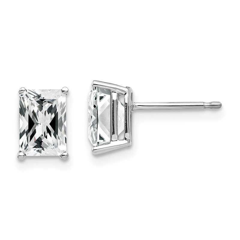 Quality Gold 14k White Gold 7x5mm Radiant Cut Cubic Zirconia Earrings