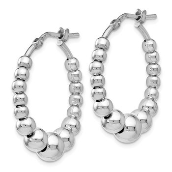 Leslie's Sterling Silver Polished Beaded Hoop Earrings