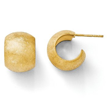 Leslie's Sterling Silver Gold-plated Scratch Finish J-Hoop Post Earrings