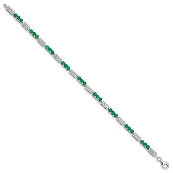 Sterling Silver Rhodium-plated Emerald and Diamond Bracelet