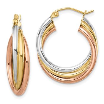 Sterling Silver Rhodium-plated Rose/Yellow Gold-plated Hoop Earrings
