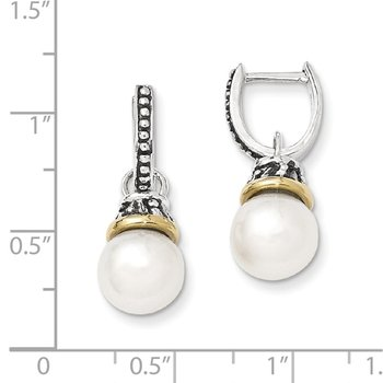 Sterling Silver w/14k 10mm FW Cultured Pearl Dangle Earrings