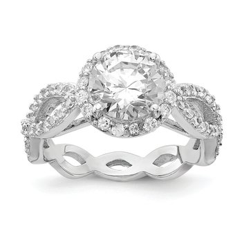 Cheryl M Sterling Silver CZ Round Twisted Ring