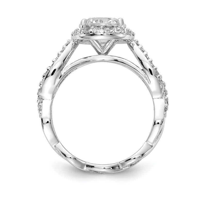 Cheryl M Cheryl M Sterling Silver Rhodium-pated Twisted Design Round CZ Halo Ring