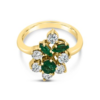 Vintage Yellow Gold Emerald and Diamond Ring