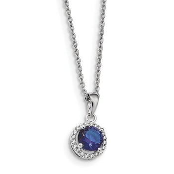 Sterling Silver Brilliant Embers Rhodium-plated White and Blue CZ Necklace
