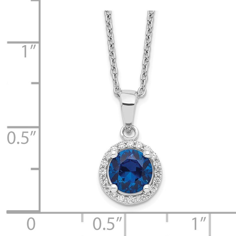 Quality Gold SS Rhodium-Plated White & Blue CZ Brilliant Embers Necklace