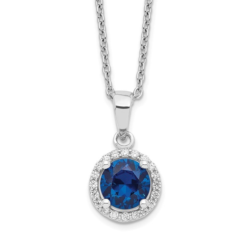 Quality Gold Sterling Silver Brilliant Embers Rhodium-plated White and Blue CZ Necklace