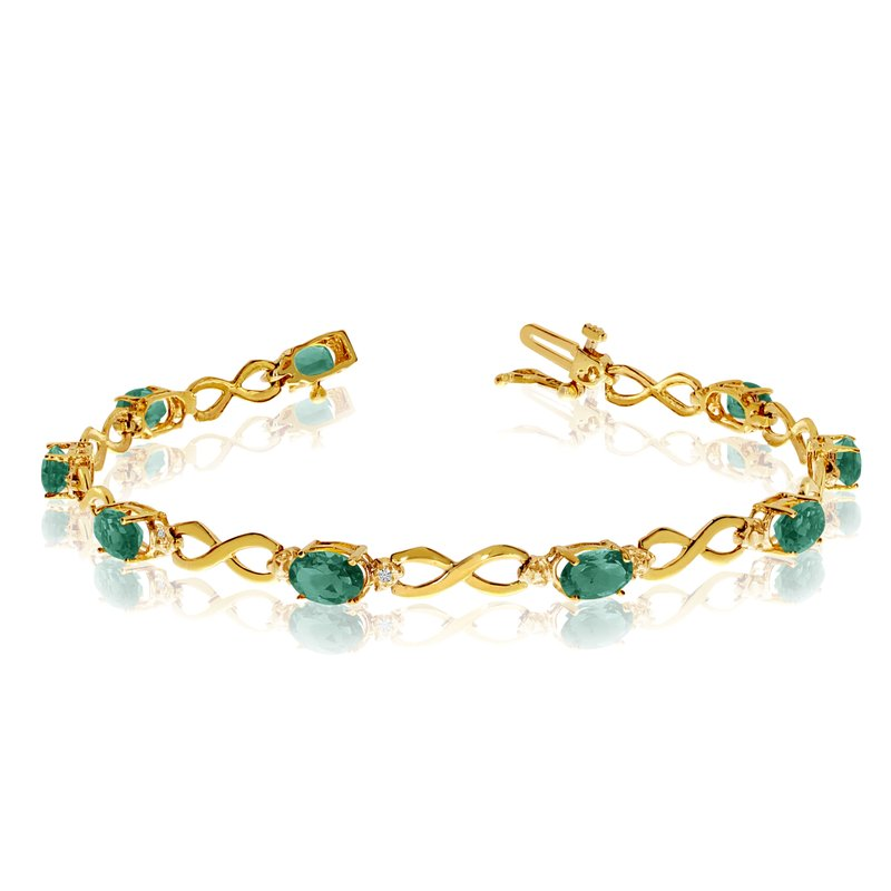 Color Merchants 14K Yellow Gold Oval Emerald and Diamond Bracelet