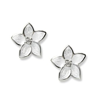 White Stephanotis Stud Earrings.Sterling Silver-White Sapphires