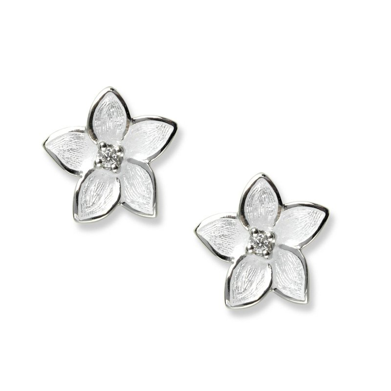 Nicole Barr Designs White Stephanotis Stud Earrings.Sterling Silver-White Sapphires