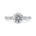 Carizza 14K White Gold Round Diamond Crossover Shank Engagement Ring (Semi-Mount)