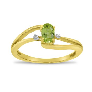 14k Yellow Gold Oval Peridot And Diamond Wave Ring