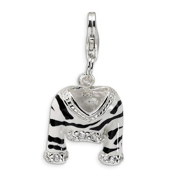 Sterling Silver CZ Polished Enamel Zebra Jacket w/Lobster Clasp Charm