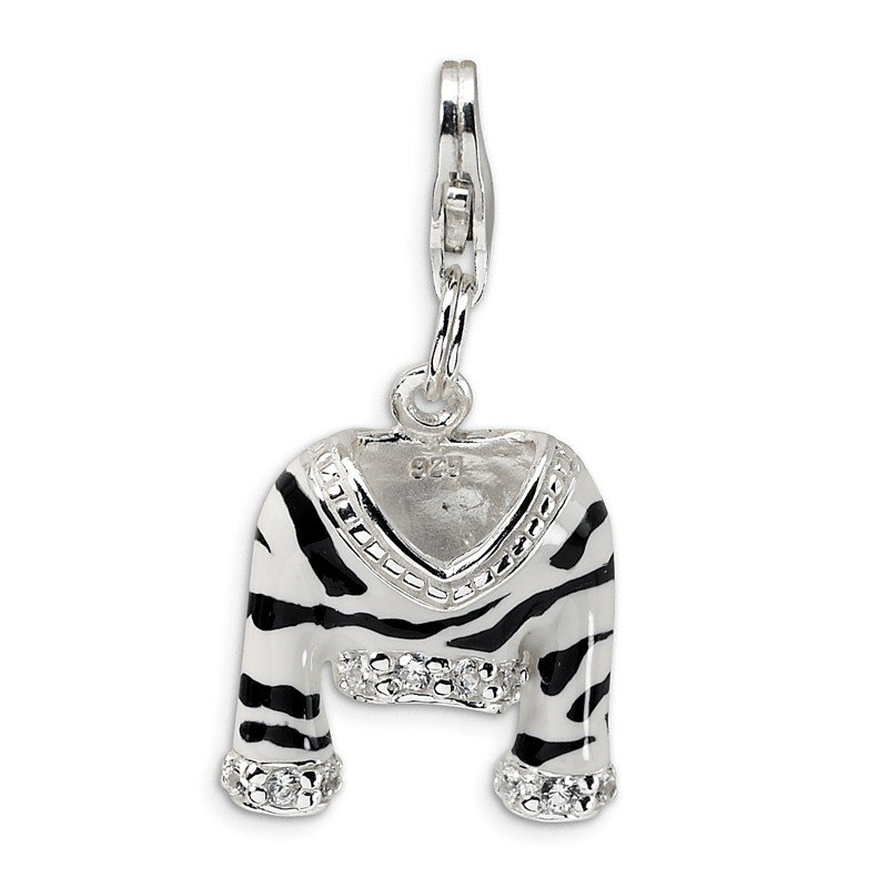 Quality Gold SS RH CZ Polished Enamel Zebra Jacket w/Lobster Clasp Charm