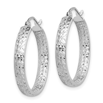14k White Gold Diamond-cut In/Out Hoop Earrings