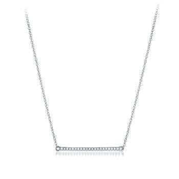 SILVER 1/10CTW DIAMOND BAR NECKLACE