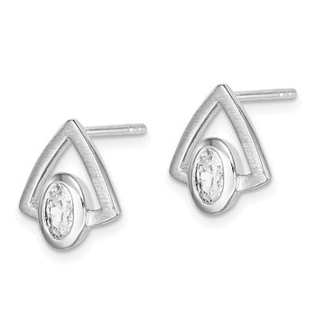 Sterling Silver Rhodium-plated Oval CZ Brushed Triangle Post Earrings