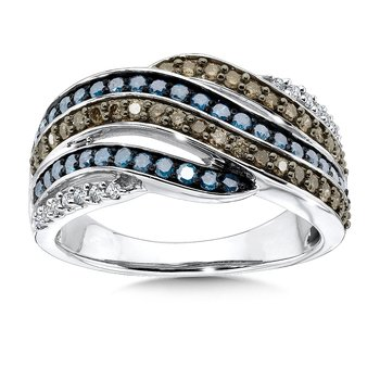 Pave set,  Blue, Cognac and White Diamond Wave Motif Fashion Ring set in 10k White Gold (3/4 ct. tw.)