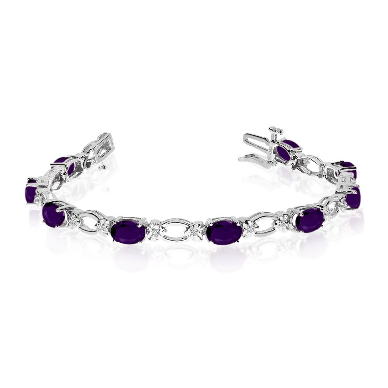 Color Merchants 14k White Gold Natural Amethyst And Diamond Tennis Bracelet