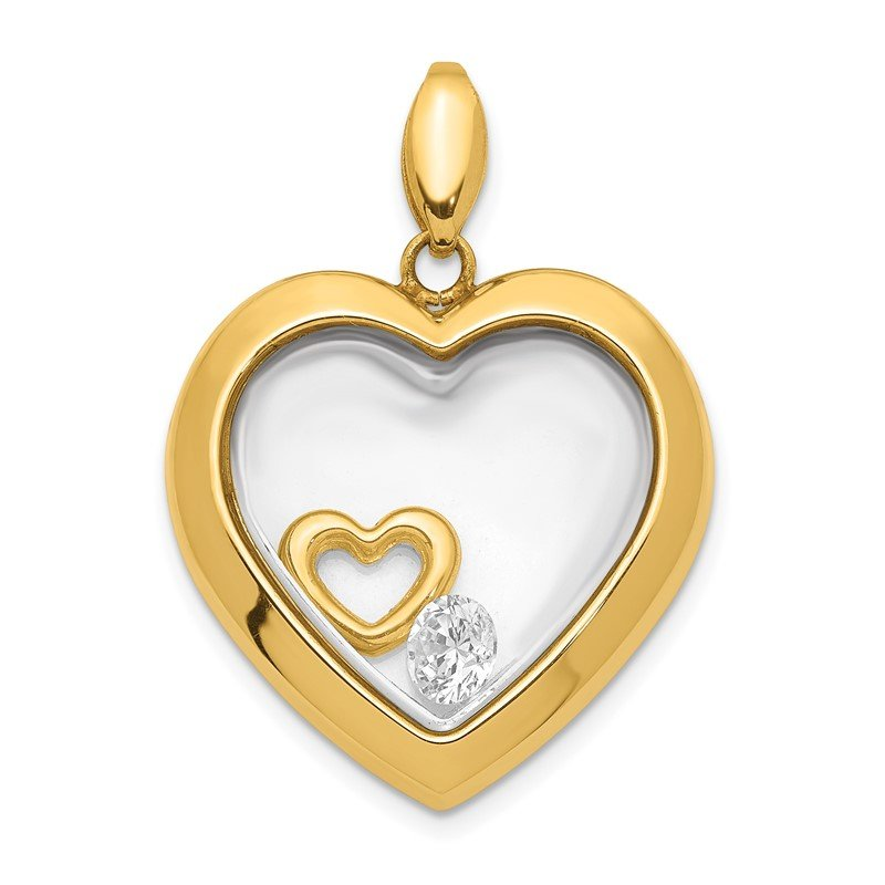 Quality Gold 14K CZ 18mm Heart Glass Pendant