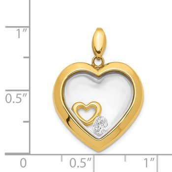 14K CZ 18mm Heart Glass Pendant